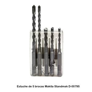 Estuche de 5 brocas Standmak Makita D-00795 Diámetros 5-6-8 mm