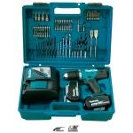 Taladro combinado Makita DHP453RFX4 a batería 18V con set 74 piezas