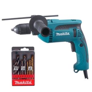 Taladro percutor Makita HP1641K1X 680W portabrocas automático de 13 mm